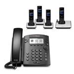 Polycom 2200-46161-025 w/ Four Handsets 6-line Entry-Level Business Me