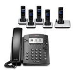 Polycom 2200-46161-025 w/ Five Handsets 6-line Entry-Level Business Me