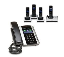 Polycom 4 Handsets polycom 2200 44500 001 vvx 500 with wireless handsets