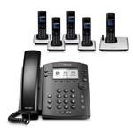 Polycom 2200-48350-025 w/ Five Handset 6-line Desktop Phone