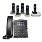 Polycom 2200-48400-025 w/ Five Handset 12-line Desktop Phone