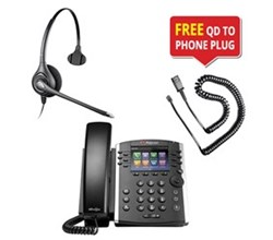 Polycom 12 Line Business Media Phones polycom vvx 400 w plantronics supraplus hw251n headset